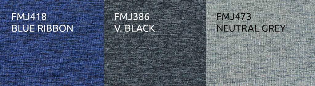 Two-Tone Ecoflex Heather Neoprene: FMJ418 Blue Ribbon, FMJ386 V. Black, FMJ473 Neutral Grey